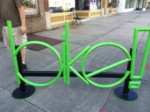 Some fancy new bike racks that artists created in The Triangle area of North Winton Village. Photo courtesy of Reconnect Rochester.