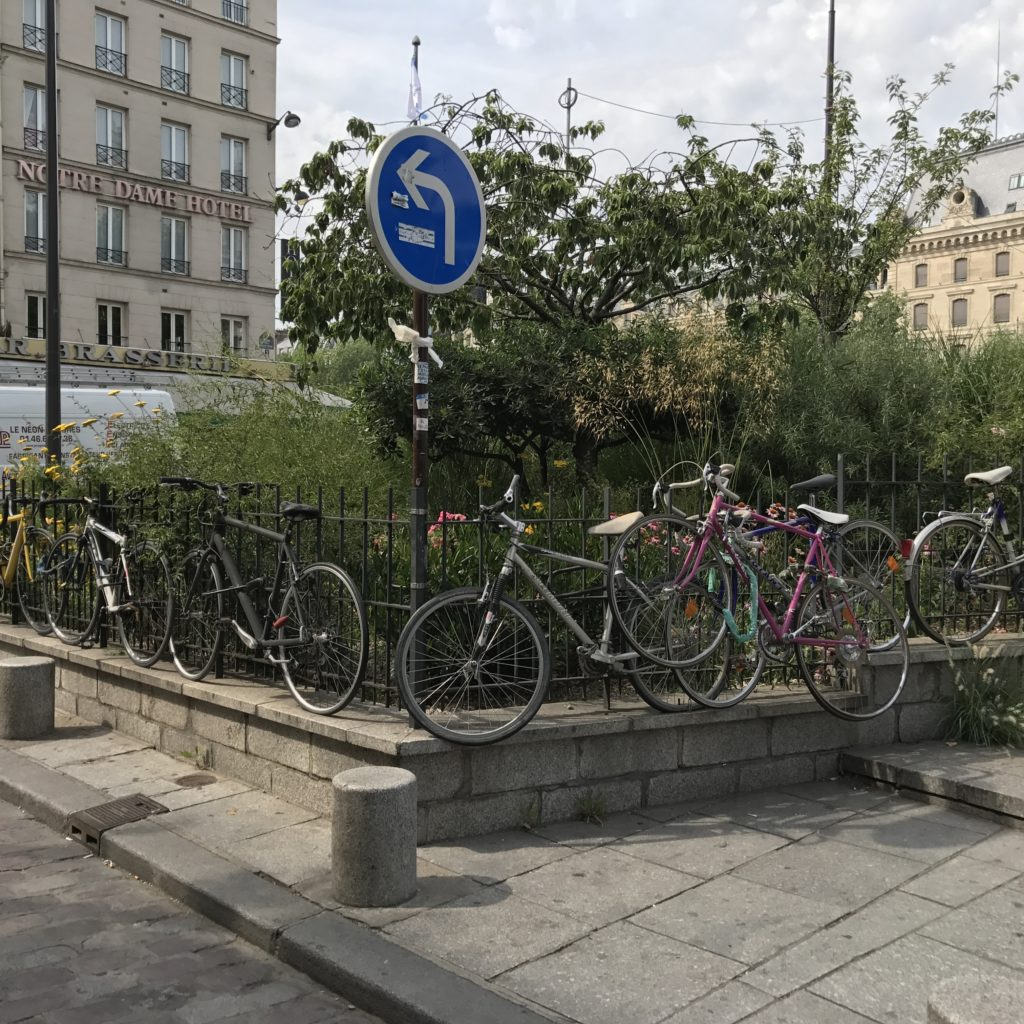 Paris bikes on fence
